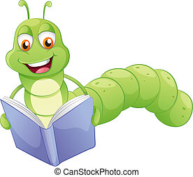 A smiling worm reading - Illustration of a smiling worm...