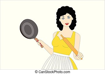 smiling young woman cooking on the white background