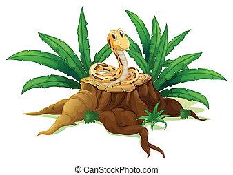 A snake above the stump - Illustration of a snake above the...
