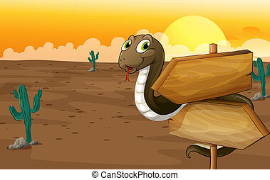 A snake and notice board - Illustration of a snake and...