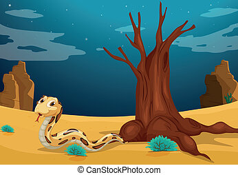 A snake at the desert - Illustration of a snake at the...