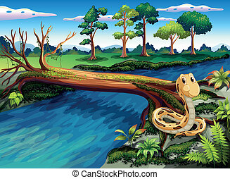 Illustration of a snake at the riverbank