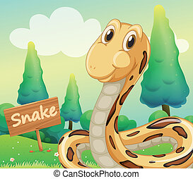 A snake beside a wooden signage