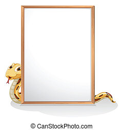A snake holding an empty whiteboard