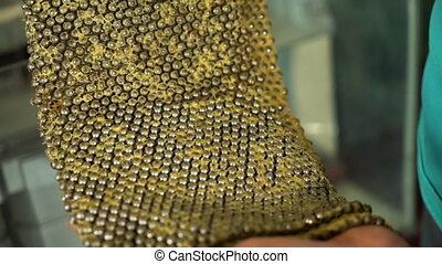 A snake skin inside a museum - A close up shot of a snake's...
