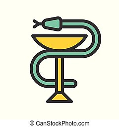 A snake twined around a chalice, Bowl of Hygieia one of the symbols of pharmacy
