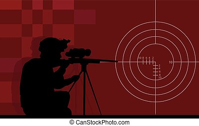 A sniper with a gun on a red background.eps