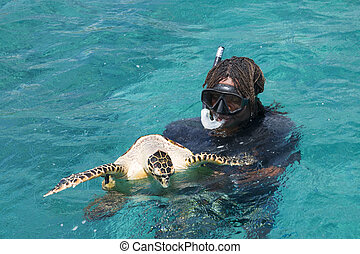 A snorkeler at an island coral reef with turtle. Seychelles...
