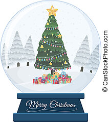 A snow globe on white background