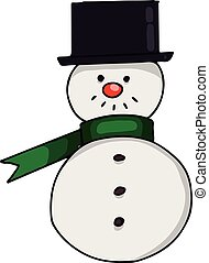A snow man with a black hat, illustration, vector on white background.