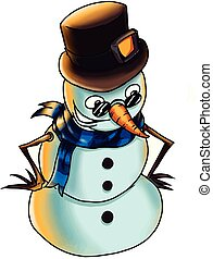 A snow man with a long nose, illustration, vector on white background.