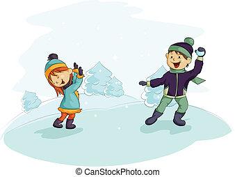 Two children playing snowballs