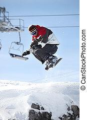 a, snowboarder, dans plein vol