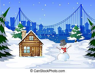 A snowman near the bamboo house