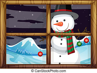 A snowman outside of the window