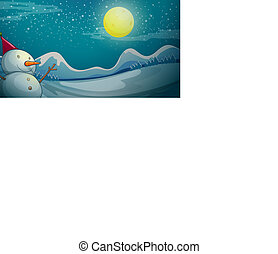 A snowman under the bright moon