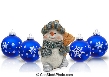 Christmas Time - A Snowman with Christmas Ornaments isolated...