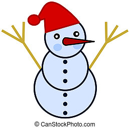 a snowman with red hat