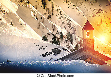 Snowy Mountain panorama with small church