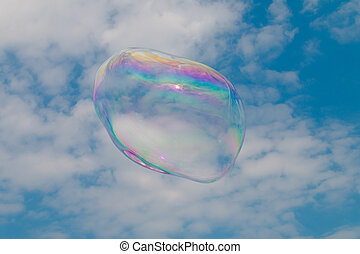 A soap bubble floating