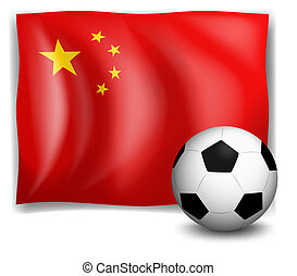 A soccer ball in front of the Chinese flag