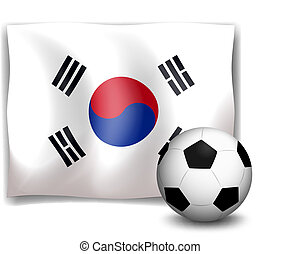A soccer ball in front of the Korean flag