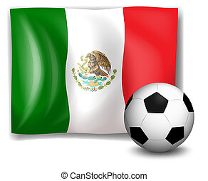 A soccer ball in front of the Mexico flag