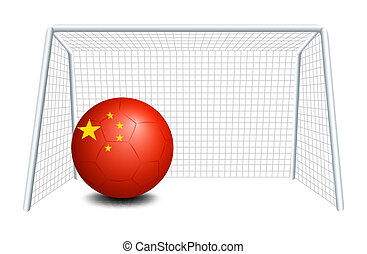 A soccer ball with the flag of China