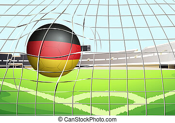 A soccer ball with the flag of Germany