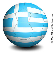 A soccer ball with the flag of Greece