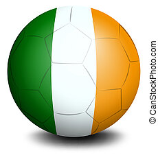 A soccer ball with the flag of Ireland