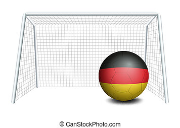 A soccer ball with the German flag