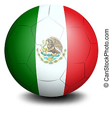 A soccer ball with the Mexican flag