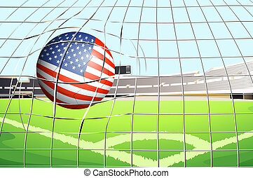 A soccer ball with the US flag