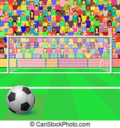 Soccer Goal - A Soccer Goal with ball and Crowd in Stadium