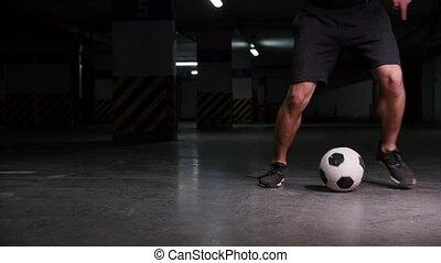 A soccer man leading the ball using feints. Mid shot