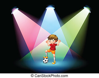 A soccer player at the stage with spotlights