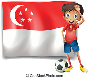 Illustration of a soccer player beside the flag of Singapore on a white background