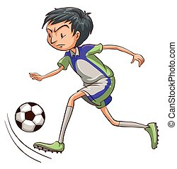 A soccer player catching the ball