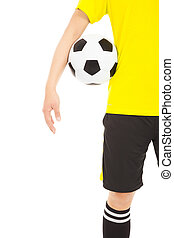 a soccer player holding a ball near waist