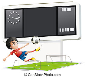A soccer player inside the gym with a scoreboard