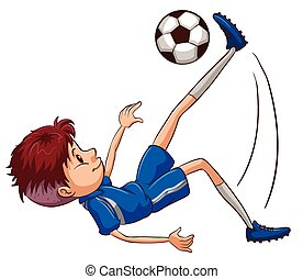 A soccer player kicking the ball