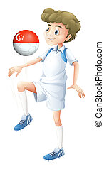A soccer player using the ball with the flag of Singapore