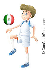 A soccer player using the ball with the flago f Mexico