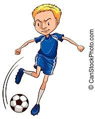 A soccer player wearing a blue uniform