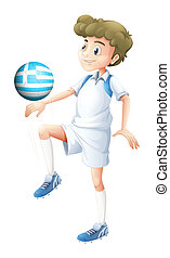 A soccer player with the Greece flag