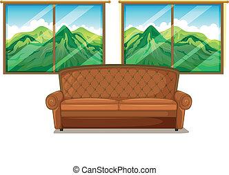 A sofa near the window