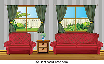 A sofaset and side table