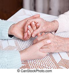 a, soin, est, chez soi, de, elderly., tenant mains, closeup