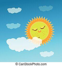 a, sol, é, dormir, atrás de, um, cloud., crianças, s
